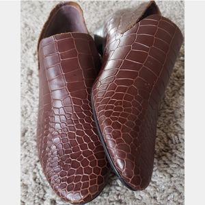 KELSI DAGGER Clara Cognac Croc Embossed Leather